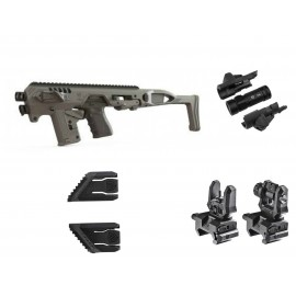 CAA Micro Roni Kit With Front 500 Lumen Flashlight, Sights & Thumb Rests for Glock G17 G19 G21 G23 G31 G32
