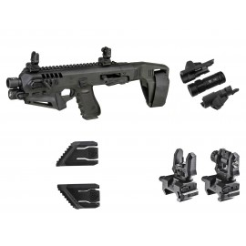 CAA Gearup Micro Roni Stabilizer Kit With Front 500 Lumen Flashlight, Sights & Thumb Rests for G17 G19 G22 G13 G31 G32