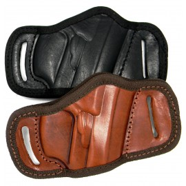 BLACK or BROWN LEATHER QUICK DRAW BELT SLIDE OWB HOLSTER